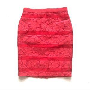 Ann Taylor Lace Striped Pencil Skirt